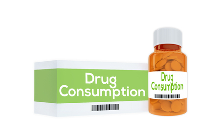 sativa: 3D illustration of Drug Consumption title on pill bottle, isolated on white.