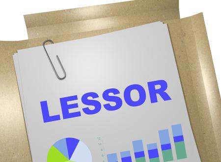 3D illustration of LESSOR title on business document