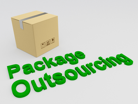 3D illustration of Package Outsourcing title with a carton box as a background Stock Photo