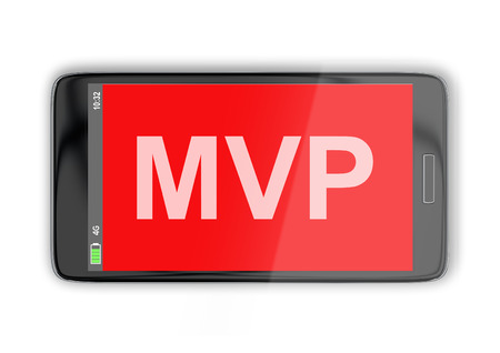 3D illustration of MVP title on cellular screen, isolated on white. Business concept.