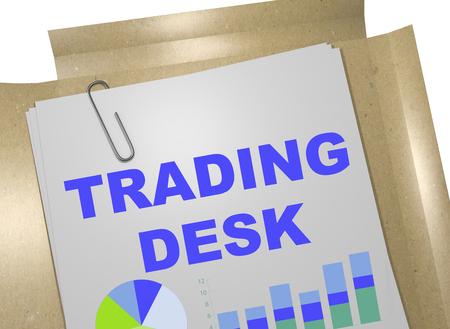 3D illustration of TRADING DESK title on business document