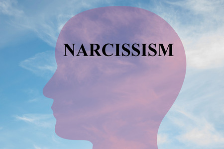 Render illustration of NARCISSISM title on head silhouette, with cloudy sky as a background.