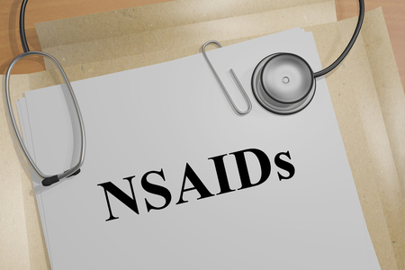 doctor tablet: 3D illustration of NSAIDs title on a medical document