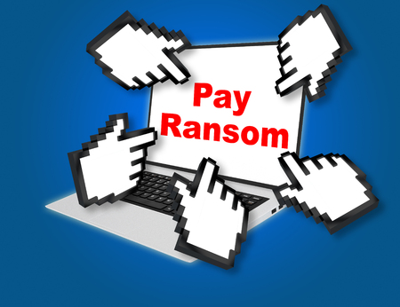 3D illustration of Pay Ransom script with pointing hand icons pointing at the laptop screen from all sides Stock Photo