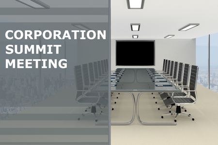 3D illustration of CORPORATION SUMMIT MEETING title on a glass compartment
