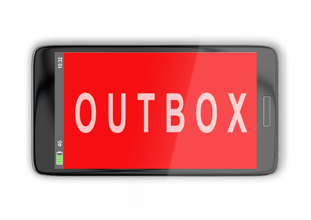 smartphone apps: 3D illustration of OUTBOX title on cellular screen, isolated on white. Communication concept.