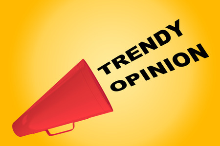 3D illustration of TRENDY OPINION title flowing from a loudspeaker