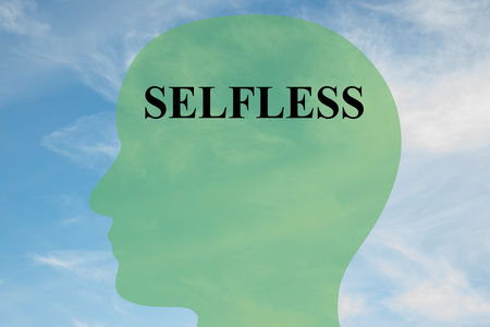 Render illustration of SELFLESS script on head silhouette, with cloudy sky as a background. Stock Photo