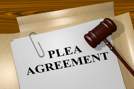 3D illustration of PLEA AGREEMENT title on legal document