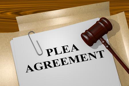 3D illustration of PLEA AGREEMENT title on legal document