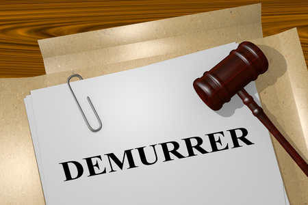 hesitation: 3D illustration of DEMURRER title on legal document