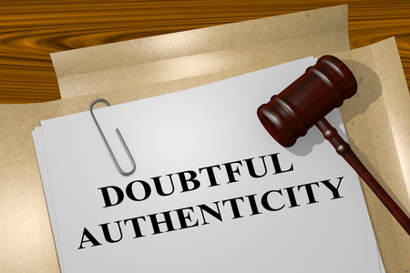 actuality: 3D illustration of DOUBTFUL AUTHENTICITY title on legal document Stock Photo
