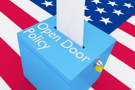 3D illustration of Open Door Policy script on a ballot box, with US flag as a background.