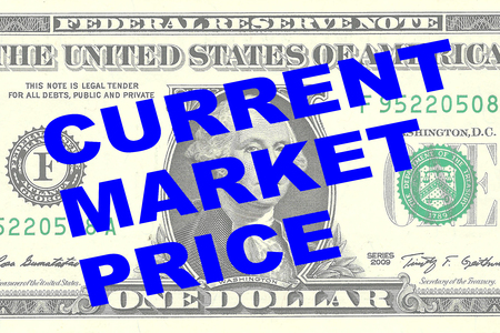 marginal: Render illustration of CURRENT MARKET PRICE title on One Dollar bill as a background Stock Photo