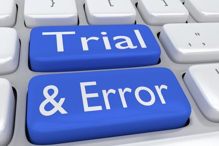 """Ilustración 3D del teclado de la computadora con la secuencia de comandos """"Trial & Error"""" en dos botones bllue adyacentes"""