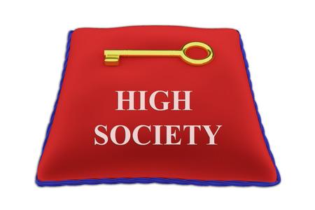 celebrities: 3D illustration of HIGH SOCIETY Title on red velvet pillow near a golden key, isolated on white. Stock Photo