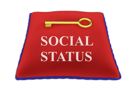 3D illustration of SOCIAL STATUS Title on red velvet pillow near a golden key, isolated on white.