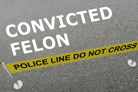 imprisoned person: 3D illustration of CONVICTED FELON title on the ground in a police arena