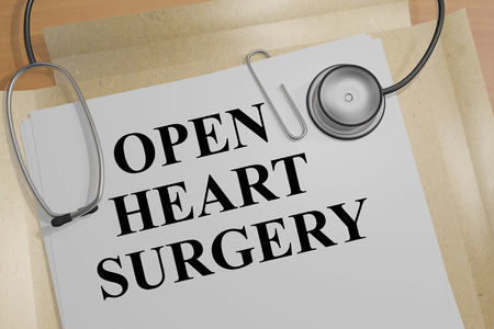 3D illustration of OPEN HEART SURGERY title on a medical document Stock Photo
