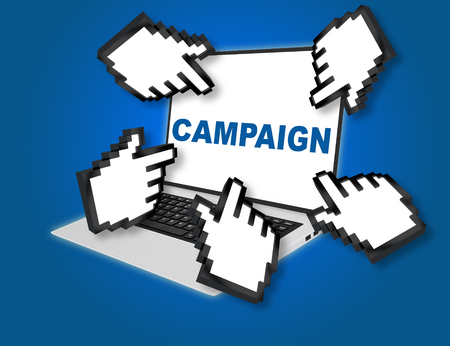 3D illustration of CAMPAIGN script with pointing hand icons pointing at the laptop screen from all sides