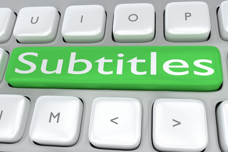 Render illustration of computer keyboard with the print Subtitles on a green button Stock Photo