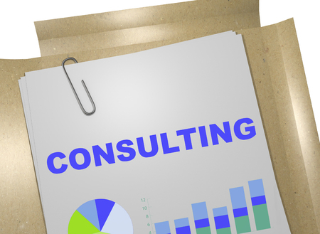 3D illustration of CONSULTING title on business document Stock Photo
