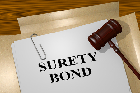 surety: 3D illustration of SURETY BOND title on legal document