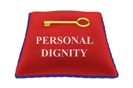3D illustration of PERSONAL DIGNITY Title on red velvet pillow near a golden key, isolated on white.