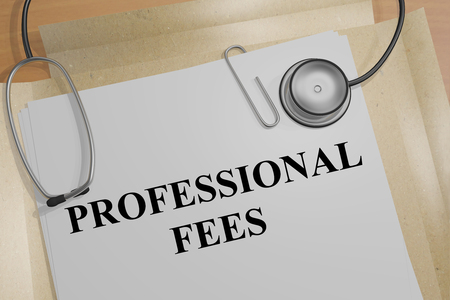 3D illustration of PROFESSIONAL FEES title on a medical document Stock Photo