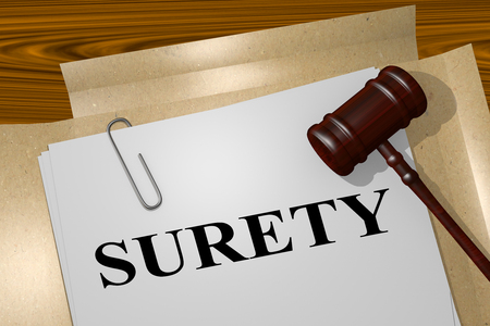 surety: 3D illustration of SURETY title on legal document Stock Photo
