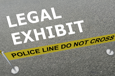 perpetrator: 3D illustration of LEGAL EXHIBIT title on the ground in a police arena Stock Photo
