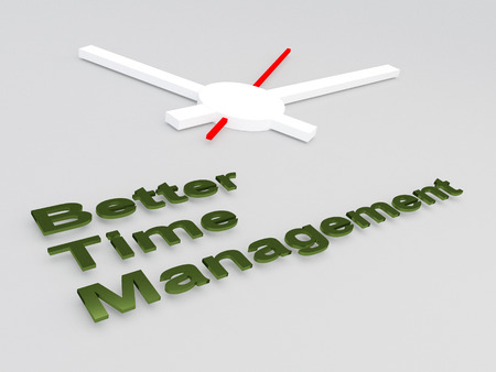 3D illustration of Better Time Management title with a clock as a background