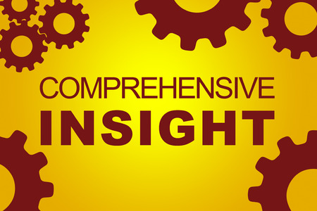 discernment: COMPREHENSIVE INSIGHT sign concept illustration with red gear wheel figures on yellow background