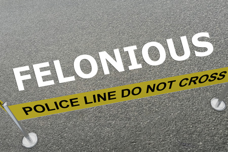 3D illustration of FELONIOUS title on the ground in a police arena Stock Photo