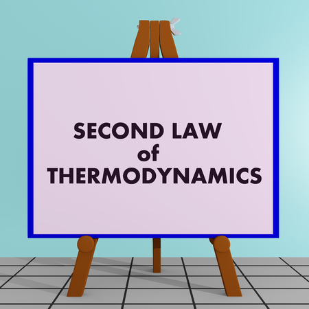 absorbed: 3D illustration of SECOND LAW of THERMODYNAMICS title on a tripod display board