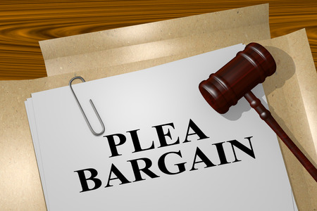 3D illustration of PLEA BARGAIN  title on legal document