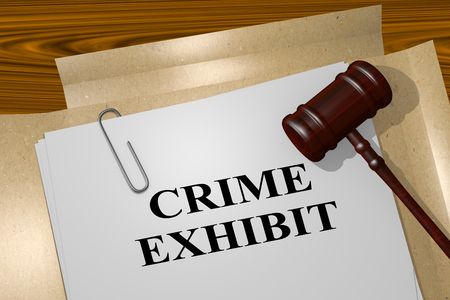 perpetrator: 3D illustration of CRIME EXHIBIT title on legal document