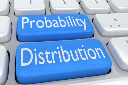 """인접한 두 개의 연한 파란색 단추에 """"확률 분포""""스크립트가있는 컴퓨터 키보드의 3D 그림"""