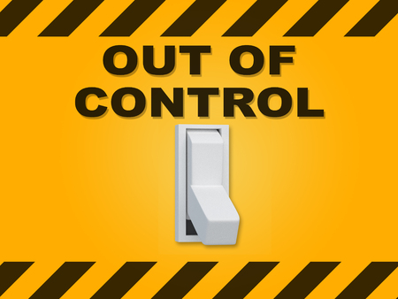 3D illustration of OUT OF CONTROL title above an electric switch on yellow wall