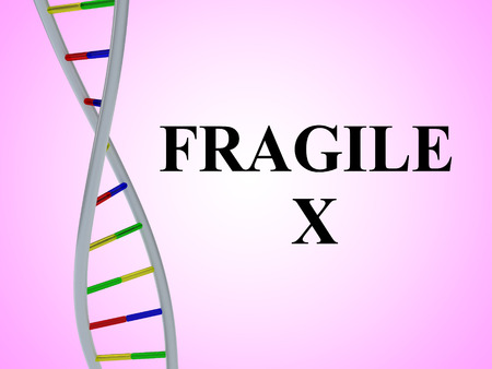 3D illustration of Fragile X script with DNA double helix , isolated on red gradient. 版權商用圖片