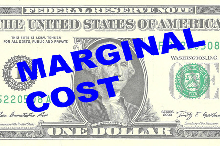 marginal: Render illustration of MARGINAL COST title on One Dollar bill as a background