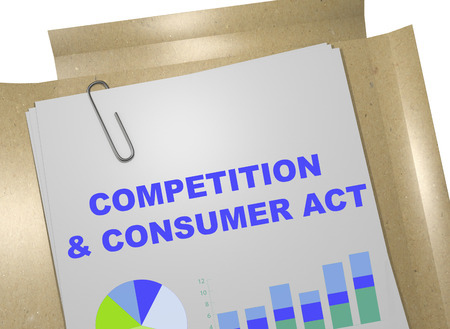 3D illustration of COMPETITION & CONSUMER ACT title on business document