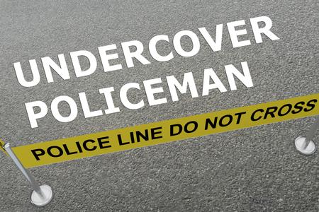 3D-afbeelding van de titel 'ONDERDEKKEN POLICEMAN' op de grond in een politie-arena