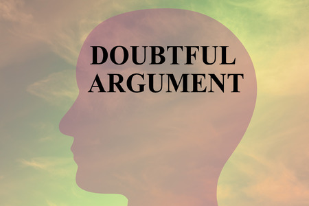 Render illustration of DOUBTFUL ARGUMENT title on head silhouette, with cloudy sky as a background. Stock Photo
