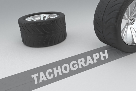 shift: 3D illustration of TACHOGRAPH title with two tires as a background Stock Photo