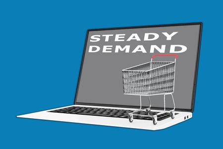 キーボードに置かれたスーパー マーケットのカートで「着実な需要」スクリプトの 3 d イラストレーション