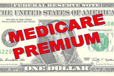 Render illustration of MEDICARE PREMIUM title on One Dollar bill as a background Reklamní fotografie