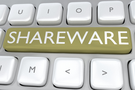 shareware: 3D illustration of computer keyboard with the print SHAREWARE on a button Stock Photo