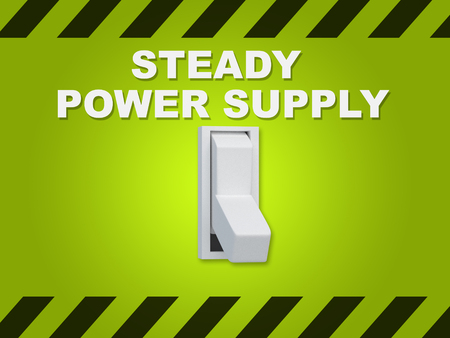 3D illustration of STEADY POWER SUPPLY title above an electric switch on green wall Stock Photo