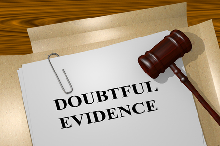 3D illustration of DOUBTFUL EVIDENCE title on legal document